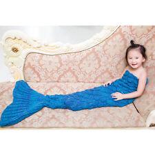 Kid Child Crochet Cocoon Sofa Beach Rug Quilt Knit Blanket Mermaid Tail Handmade