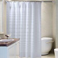 White Shower Curtain Striped Bath Bathroom Waterproof Mold Proof Curtains SH