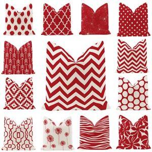 """18"""" Red Geometric Pillowcase Sofa Waist Throw Covers Pillow Cushion Home Decor"""