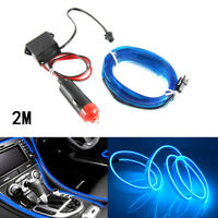 Blue Car LED EL-Wire Cold light lamp Neon Lamp Interior Atmosphere Light 12V 2M