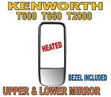 Kenworth T600 T660 T2000 PB 387 Upper & Lower Mirror Glass with Bezel (Heated)