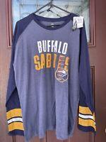 NEW Buffalo Sabres NHL Hockey Long Sleeve T-Shirt Raglan Baseball Shirt XL NWT