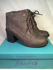 "Blowfish Misty Womens Ankle Boot Grey 3"" Block Heel, Size 9 - NEW"