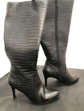 Ladies New Look Black Leather Knee-Length Heel Boots SIZE 5 GA 1196