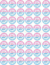 48 Gender Reveal Boy or Girl Cupcake Edible Fairy Cake Wafer Toppers 3cm
