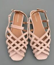 Topshop Flat Sandal 8 41 Pink Nude Real Suede Leather Gladiator Strappy Summer