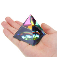 2.3'' Rainbow Colors Crystal Iridescent Pyramid With Gift Package Present Rocks