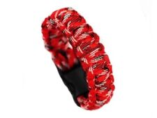Paracord Survival tactical Bracelet Cord Buckle With Whistle New Red Camo