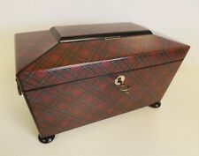 Tea Caddy Tartan Ware 'Royal Stuart' With Picture Of Balmoral Castle. 1860-1880