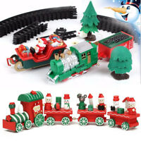 Christmas Musical Light Train Trees Box Set Carriage Kid Gift Toy Ornament Decor