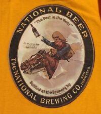 Vtg National Beer Brewing San Francisco Cowboy Champion Blue Bar USA XL T-Shirt