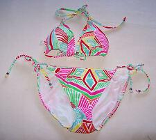 Target Ladies White Multi Stripe Printed 2 Piece Bikini Bathers Size 12 New