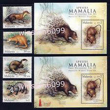 2005 Malaysia Protected Mammals 4v Stamps + Mini-Sheet + Overprint MS Mint NH