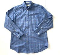 Orvis Cotton Blue Button Down Plaid Outdoors Camp Hike Shirt Mens Size Medium
