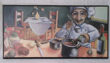 Will Rafuse Italian Cook Busy Cooking 9.5 x 19.5 Print On Black Plaque