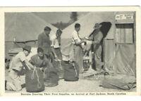 VINTAGE 1940s WWII POSTCARD! RECRUITS ARRIVING AT FORT JACKSON, SC! GRAYCRAFT!