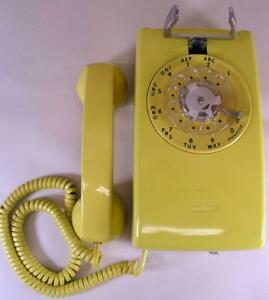 Antique 1950's Western Electric Bright Yellow 554 Rotary Wall Telephone