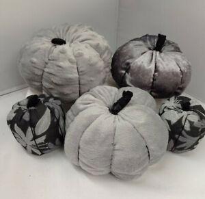 Hanmade Pumpkin Plush Soft Velvet Grey Decor Halloween UK Autumn Fall