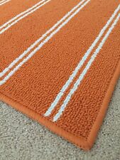 4'x6' Orange & White Classic Stripes Rug for College Dorms / Apartments / Teens