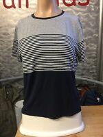 Abercrombie & Fitch T- Shirt Blau Weiß Gestreift Gr L Viskose Elasthan 1a Zustan