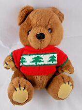 "Dakin Teddy Bear Plush w/ Red Sweater Sits 9"" 1981"