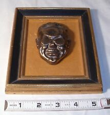 THE ARTIST GRANT WOOD BRONZE CAST FACE PAPERWEIGHT FRAMED