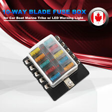 10-Way Blade Fuse Box LED Illuminated Fuse Block w/LED Warning Light for Vehicle