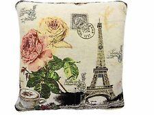 "PARIS FRANCE FLORAL ROSE TAPESTRY COTTON VELVET PINK CUSHION COVER 18"" - 45CM"