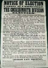 1900 Original Cockermouth Cumberland Elections Bill Poster Notice