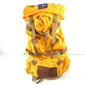 Vintage Jansport Internal Frame Backpack Hiking Mountaineering Leather Patches