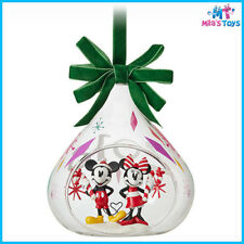 Disney Mickey and Minnie Mouse 2018 Christmas Holiday Glass Drop Ornament BN