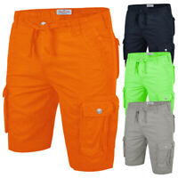 Mens Combat Cargo Shorts Summer Casual Cotton Chino Work Pants Plain Length New