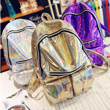 Women's Holographic Rucksack Travel Bags Leather School Bookbag 3 Color Hot Sale