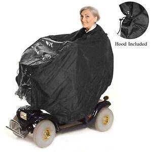 Mobility Scooter Rain Coat Poncho Waterproof Light Weight Mac Hooded Black Cape
