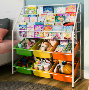 Kids Children Steel Frame Bookshelf Bookcase Book Toy Organizer Storage Display