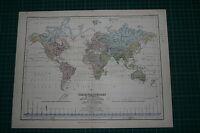 1877 Antik Landkarte / Tabelle ~ der Welt Fluss System Groß Becken Oceans Lakes