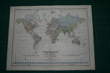 1877 ANTIQUE MAP/CHART ~ THE WORLD RIVER SYSTEM GREAT RIVER BASIN OCEANS LAKES