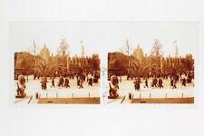 Paris Exposition coloniale 1931 Scène rue Photo Stéréo verre Positif