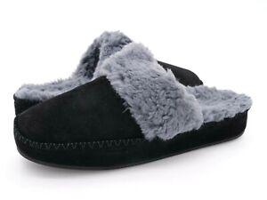 Vionic Womens 10 Marley Black Suede Slide Slippers Orthotic Wool Lined Mule