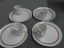 Set of 4 vintage retro plates and mugs with silver lining dishes home kitchen