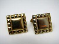 Vintage Cufflinks Jewelry: Gold Tone Square Border Design