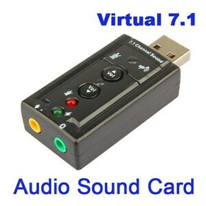 Black USB2.0 3D Virtual 7.1 Channel Audio Sound Card Sound Adapter For PC Laptop