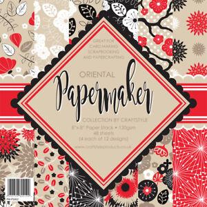 Papermaker 8x8 paper pad stash - Oriental red black beige 120gsm NEW