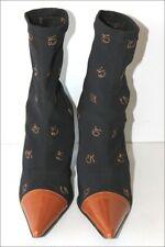 EMMANUELLE KHANN Bottines Boots Pointues Elastiquées Imprimées T 35.5 TBE