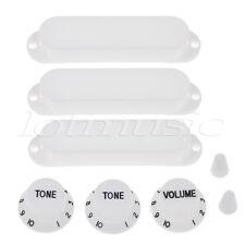 Strat Style Guitar Single Coil Pickup Cover Volume Tone Knob Switch Tip White