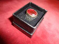 MENS RING:Oval  Garnet &925 STERLING: HANDMADE w/great SETTING- sz10-StunningWOW