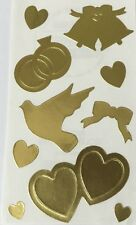 GOLD WEDDING Sticker(10pc)Frances Meyer•Metallic•Rings•Wedding Bell •Hearts•Dove