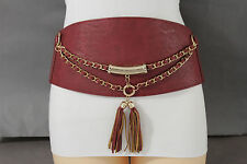 Women Hip Waist Red Extra Wide Metal Chain Fashion Belt Bling Western Corset S M