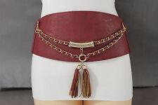Women Hip Waist Red Extra Wide Metal Chain Fashion Belt Bling Western Corset S M