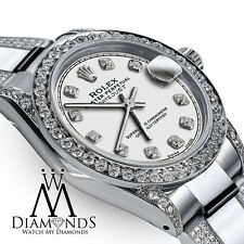 Ladies 26mm Rolex s/s Oyster Perpetual Datejust Custom set Diamonds White Dial